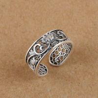 I05 Ring Feinsilber Silber 999 Wabenmuster mit Lotusblüte größenverstellbar