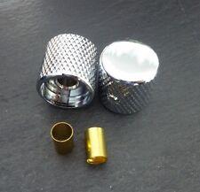 "Set of 2 x Chrome "" Flat Barrel Knob"" for CTS pots - Fit Fender Tele / PBass"