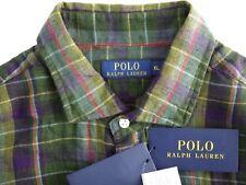 NWT $145 POLO RALPH LAUREN mens 100% LINEN shirt XL plaid long sleeve button up