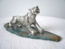 Leopard, Big Cat Pewter Figurine on Gemstone, made in Usa, collectible pewter
