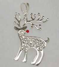 Nature's Jewelry Enameled Sterling And Crystal Reindeer Pendant