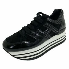 C13 sneakers donna HOGAN H283 MAXI 222 black glossy/silver suede shoes women