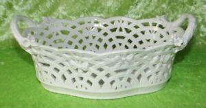 Ovaler weißer KPM Porzellankorb Obstkorb Schale Durchbrucharbeit