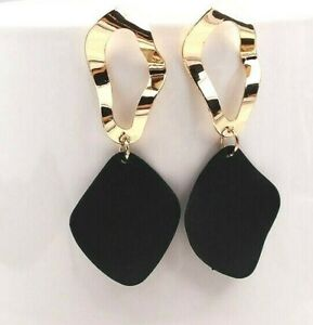 Women Long Drop Gold Tone Statement Earrings Retro Dangle Black Red White Green