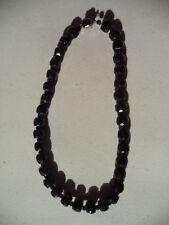 Vintage Antique Art Deco Czech Faceted Black Glass Bead Beaded Choker Necklace!