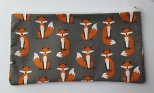 Fabulous Foxes Charcoal Fabric Handmade Pencil Case Make Up Bag Storage Pouch