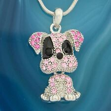 Dog W Swarovski Crystal Puppy Pet Pink Color Necklace Movable Pendant Jewelry