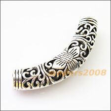 2 New Charms Flower Wave Tube Spacer Beads Connectors 55mm Tibetan Silver
