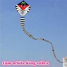 NEW 15m Power Cobra Snake Kite white/gold Outdoor Fun Sports Children Toys