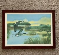 Lynn Toneri Canada Geese in Flight Watercolor Art Framed Signed Goose Lake