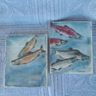 VTG Watercolor Painting Salmon Signed DEB 89 Fish  Coho King Waterscape LOT OF 2