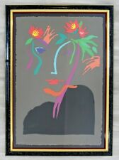 Contemporary Modern Framed Paper Collage Portrait Signed Frank Gallo Sinfonia