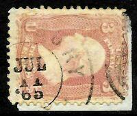 "Sc #65 ""JUL 11 1865"" Year Date Town Cancel  3 Cent 1861-62 Civil War US 59C73"