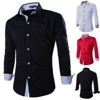 Mens Fashion Slim Fit Casual Long Sleeve Luxury Dress Shirts Business Shirt Tops