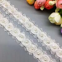 1yd Chiffon Silk Beaded Pearl Lace Edge Trim Ribbon Embroidered DIY Sewing Craft