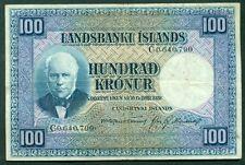 ICELAND 1928 100kr NOTE VF+