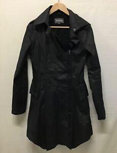 Firetrap Ladies Waxed Cotton Trench/Mac Coat/Jacket In Black. Size Medium (002)