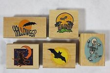 Lot of 5 New Canadian Maple Halloween WITCH BAT CROWS Wood Mounted Rubber Stamps