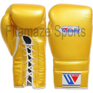 New Winning Leather Boxing gloves Lace up 16oz Shine Gold