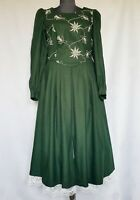 VINTAGE APART TYROL OKTOBERFEST DIRNDL GREEN WOOL BLEND WOMEN'S DRESS:US10/EU 38