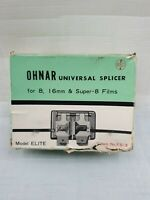 Vintage OHNAR 8 &16mm Splicer FS -3 ELITE. Movie Film Original Box Instructions