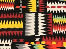 Fabric Navajo Native American Stripe Design on Black Cotton by the 1/4 yard