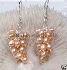 Rose Akoya Cultured Pearl Grape Dangle Boucle d'oreille argent crochet AAA