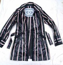 """TRES CHIC CHANEL 07P NEW $2.7K  """"WATERPROOF COTTON""""  STRIPED JACKET PEACOAT- 40"""