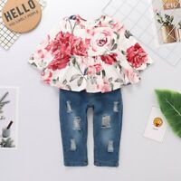 2PCS Toddler Kids Baby Girls Floral T-shirt Tops+Ripped Jeans Pants Outfits Set