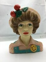 "Cameo Girls Lady Head Vase Eloise 1972 ""High School Sweetheart"" COA - 6"" Tall"