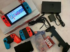 Nintendo Switch + Grip + 3 Games + Extra 2 Controllers + Battery Bank Case
