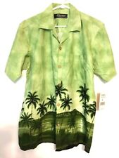 Favant Hawaiian Green With Palm Trees Men's Shirt Size M NWT Made in the USA