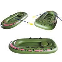 Gonflable Bateau 2 Personnes Caoutchouc PVC Vert Kayak avec Air Pompe Avirons