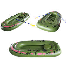 Inflatable Boat 2-Person PVC Rubber Green Kayak with Air Pump Oars Rope Fishing