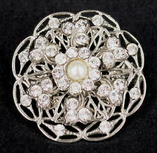 BEAUTIFUL DIAMANTE & FAUX PEARL BROOCH by ELYSIAN CREATIONS