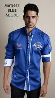 Absolute Rebellion Men's Long Sleeve Shirt Embroidery Yachting Club Matisse Blue