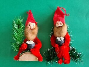 2 x Vintage Christmas Elves Chenille Rubber Faces Lovely quality for Hanging