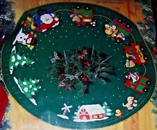 "Bucilla Santa's""Christmas Express"" Train Vintage Felt Tree Skirt Kit~43"" RARE"