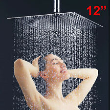 """Square 12"""" 300mm Chrome Stainless Steel Water Rainfall Overhead Bath Shower Head"""