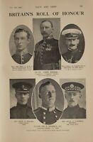 1914 WW1 PRINT BRITAINS ROLL OF HONOUR AYMER MAXWELL LT CHOLMLEY DORMER