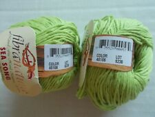 FibraNatura Sea Song yarn, cotton/seacell blend, Lime Punch, lot of 2