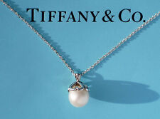 Tiffany & Co Sterling Silver Heart Cap White Freshwater Pearl Necklace