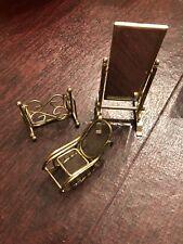 Vintage Metal Brass Dollhouse Furniture Rocking Chair Cradle Floor Stand Mirror