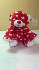 "2008 Ty Red Teddy Bear White Hearts Dreamly Plush Pluffies 9"" Retired NEW"