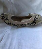 Yosi Samra SAMARA Natural Snake Print Leather Ballet Flats Shoes Size 6 M NIB