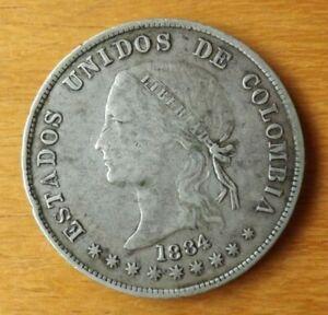 Columbia South America Silver 50 Centavos Coin 1884 AEF Grade Toned Scarce....