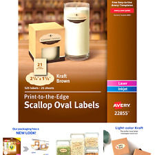 Avery Scallop Oval Labels For Laser Amp Inkjet Printers 2 14 X 1 18 525 K