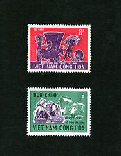 1967 RVN South Vietnam 2 Stamps MNH Life of the Vietnamese People 8d and 1d