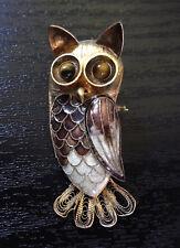 Gold Brooch Owl Tiger eye Vintage Pin Sterling Silver Stamp Purple Enamel Inlay