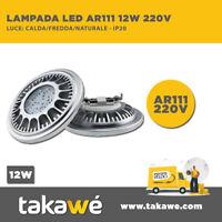 LAMPADA FARETTO DA INCASSO LED AR111 12W 220V Luce: CALDA/FREDDA/NATURALE